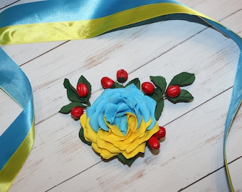 Bright Rose Brooch Colored Flower Brooch Rose Brooch Wedding Flower Brooch Blue|Yellow Nature Jewelry Bridal Fashion Bridal Flower Brooch