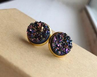 Purple & Gold Druzy Studs