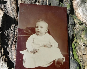 Tintype Photo - Baby in White Dress