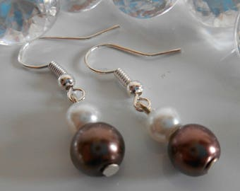 Pair of Brown and white pearls wedding earrings