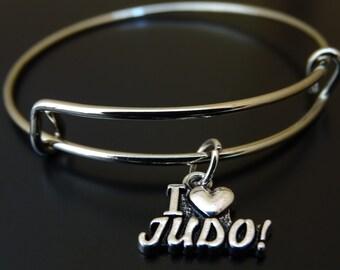 I love Judo Bangle Bracelet, Adjustable Expandable Bangle Bracelet, Judo Charm, Judo Pendant, Judo Jewelry, Martial Arts Jewelry, Judoka