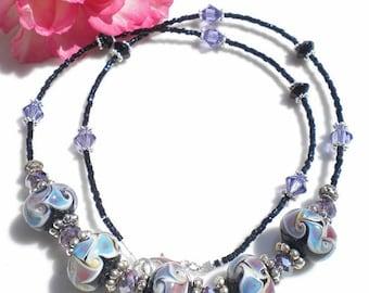Artisan Lampwork Beaded Necklace w Amethyst & Hemitite Swarovski Crystals