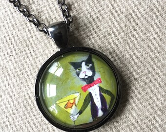Long Kitty Necklace - Bartender Tuxedo Cat Necklace -  Cat Jewelry - Silent Mylo Tuxedo Cat - Cat with Martini -  Gift for Cat Lover