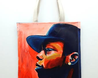 Canvas tote with portrait of Dizzee Rascal
