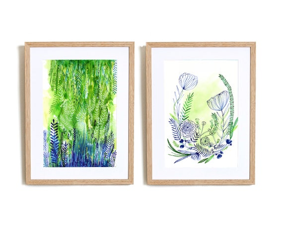 Set of 2 Joy No1. and No.2 Wall Art Prints  hand drawn illustration