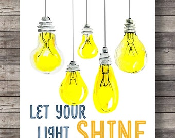 Let your light shinePrintable art | Hand lettering typography | Inspirational Quote | Motivational Print | Wall Decor | Scripture Print