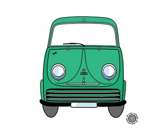 DKW Shnellaster Kombi T-shirt DTG printed on 100% cotton Classic Audi Auto Union 3=6 van T shirt Original art by Wheels All Over