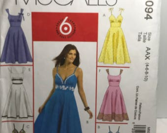 McCall's 5094,sewing pattern, women's, dress, spaghetti strap, heart neckline,flared skirt, size 4,size,6,size8,size10, 1 piece missing