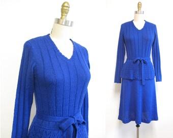 Vintage 1970s Sweater Dress | Crochet Peplum 1970s Knit Dress | size small - medium