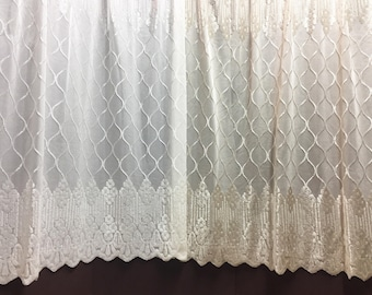 Sheer Fabric - Polyester Patterned Sheer Panel - White or Champagne Sheer  - Decorative Shaped Hem  - Singed Flower Fabric - P13 - 1 Panel