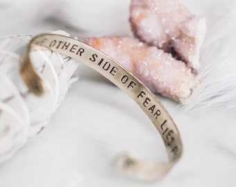 On the other side of fear lies freedom brass bird secret message cuff bracelet, gold bracelet, customizable inspirational, RTS CB004
