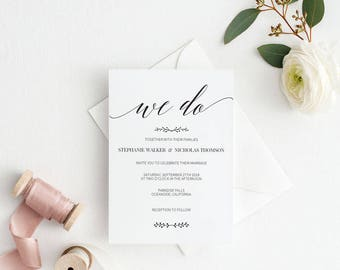 Rustic Wedding Invitation Template, We Do Wedding Invitation Printable, Vintage Invitation,Cheap Invitation, DIY PDF Instant Download #E016