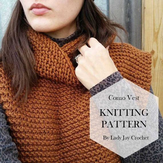 Pattern Como Vest Diy Easy Knit Poncho With Cowl Knit
