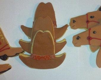 Cowboy Western Party - Horse head, cowboy hat and cowboy boots cookies- Handmade - 1 Dozen