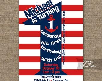 Nautical 1st Birthday Invitations - Printable First Birthday Invitation - Boys 1st Birthday Party Red White Blue One Year Old Invites NAU