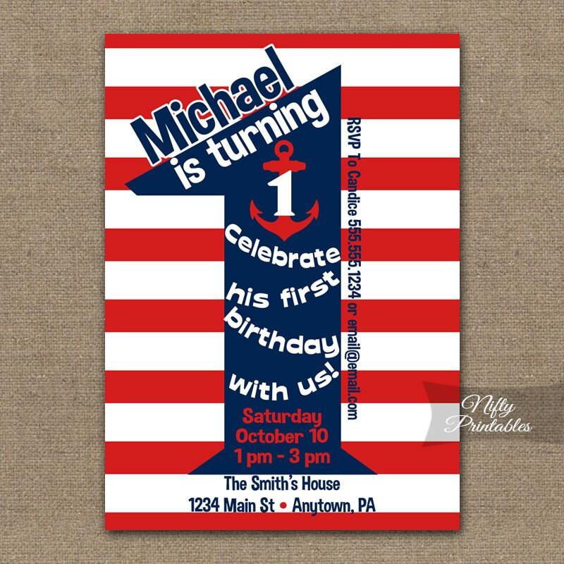 Nautical 1st Birthday Invitations Printable First Birthday