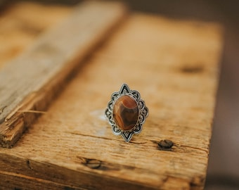 Sterling Silver Red Lace Agate Ring Size 8.5