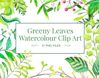 Watercolor Leaves Clip Art // Tropical  Leaves Clip Art, Branches, Foliage Art // Wedding Invite, Greeting Card, Decoupage, Scrapbooking