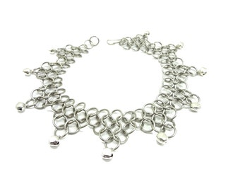 Belly Dance Ankle Bracelet Chainmaille With Dancing Bells