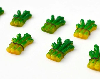 Green Asparagus Bunch Garden Resin Plastic Kawaii Decoden Kitsch Flatbacks Cabochons 060116