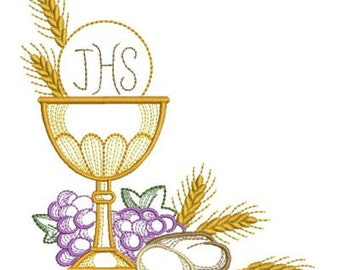 Communion Holly Chalice Machine Embroidery Designs Pack Instant Download 4x4 5x5 6x6 hoop APE2071-003