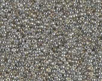 Japanese Miyuki 15/0 Round Seed Beads Transparent Silver Gray Gold Luster 1, 5 or 10 grams Your Choice!