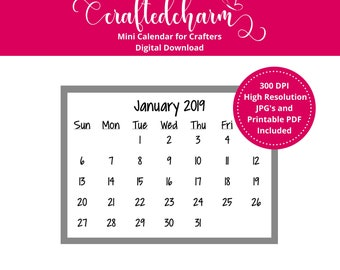 2019 Mini Calendar Digital Download | Printable Mini Calendar | Printable PDF | Journaling Calendar | Small Calendar | Grace