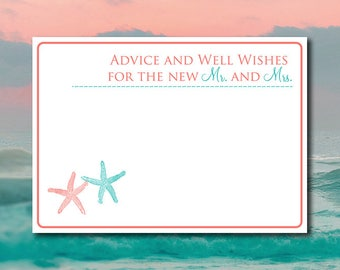 """Advice and Well Wishes for the New Mr and Mrs - Beach Wedding Advice Card """"Lazy Starfish"""" Coral Reef Teal Wedding Printable Wedding Insert"""