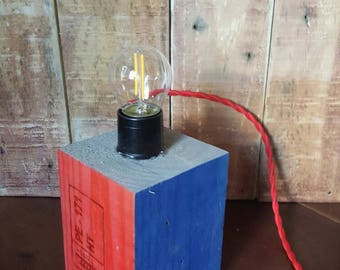 Reclaimed timber LED desk lamp