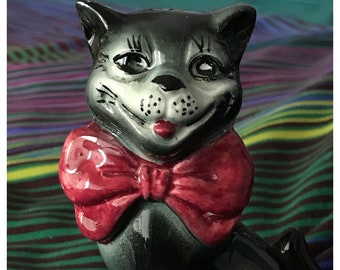 Vintage Ceramic Black Cheshire Cat with Red Bow Tie, Made in England