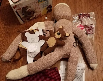 Red Heel Sock Monkey Kit with Teddy Bear half done
