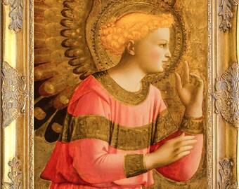 Gorgeous Angel Art Print, Fra Angelico Anunciation, Framed, Print on Canvas