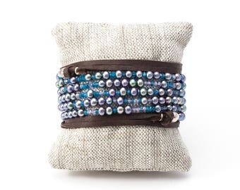 Peacock Pearl Wrap Bracelet, Purple Wrap Bracelet, Pearl Necklace, Leather Wrap Bracelet, Gemstone Necklace, Pearl Bracelet, Adjustable Wrap