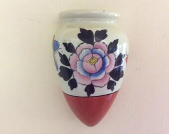 Vintage Wall Pocket Vase, Japan Logo and Marked on Back