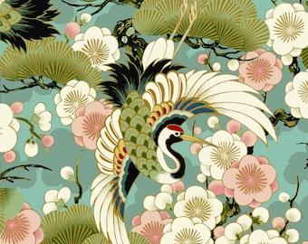 Celebration - Tsuru Crane Bird Teal with Metallic Accents from Quilt Gate