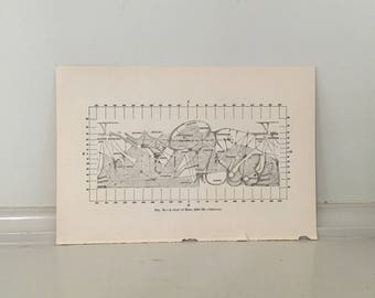 c. 1903 CHART OF MARS print original antique celestial astronomy lithograph - planet print
