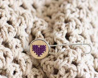 HEART (4 Colour Options) Cross Stitch Brooch Kit with Bamboo Wood *Modern Embroidery DIY Kit