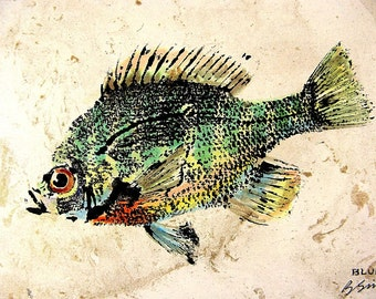 GYOTAKU fish Rubbing Colorful Sunfish 8.5 X 11 quality Art Print Bluegill Cottage Decor by artist Barry Singer