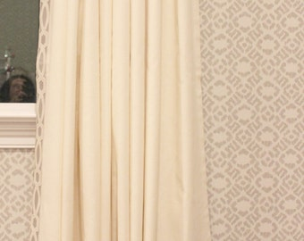 Trend Linen/Cotton 01838T Drapes with Samuel & Sons 977 56199 Trim in Dove