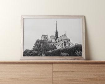 Notre-Dame de Paris,Paris, France / Landscape, Black & White / Wall art decor, print, photo, printable, photography, digital download