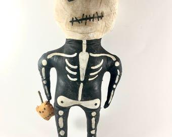 Skeleton Man Halloween Art Doll Folk Gothic Horror Handmade