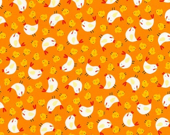 Chicken and Chicks on Orange from Timeless Treasure's Farmland Collection - Farm Fabric