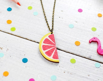 Grapefruit Necklace | Fruit | Wood | Nickel Free