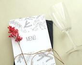 10x Menu Cards   Wedding Menu   Floral Menu Card   Botanical Wedding   Green Wedding   Black and white wedding   Wedding Dinner Menu  