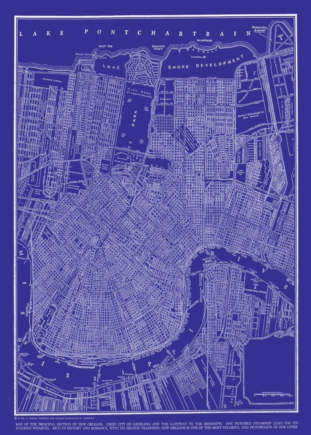 New orleans street map vintage blueprint print poster zoom malvernweather Image collections