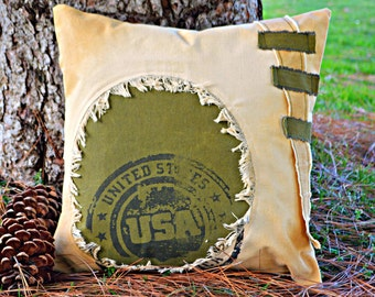 """Rustic pillow ~ Decorative pillow 18x18 ~ Canvas, Cabin, Cottage, Farmhouse, Lake House pillow  """"USA STAMP"""" Home, Cabin Decor, Ready to ship"""