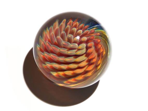 Marble - Orb - Coral Sea Swirl - Glass Art - Spiral - Blown Glass - Home Decor - Handmade Gift - Ornaments - Desk Gift Ideas - Borosilicate
