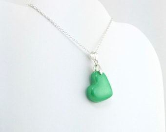 Medium Green Clay Heart Pendant - Simple Heart Necklace - Green Heart Necklace  - Wedding Jewelry, Bridesmaid Necklace - MADE to ORDER
