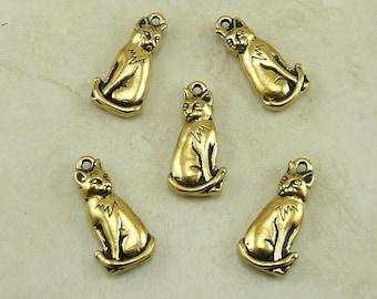5 TierraCast Sitting Kitty Cat Charms > Feline Pet Companion - 22kt Gold Plated Lead Free Pewter - I ship Internationally 2159