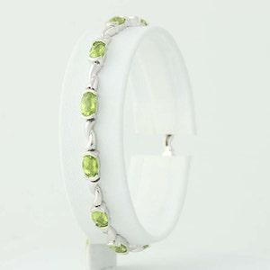 "Peridot Link Bracelet 6 3/4"" - 14k White Gold August Birthstone 6.00ctw N4979"